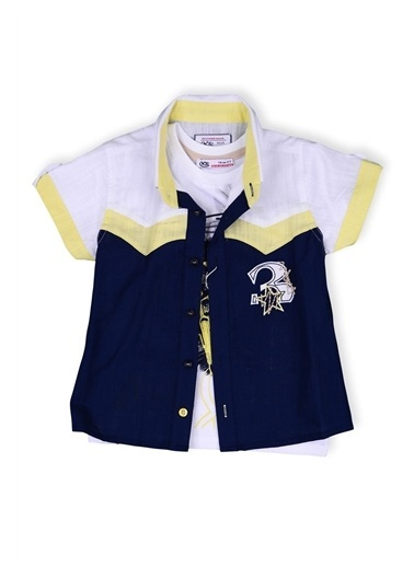 Kts Baby Kts Baby 4216 3 İşlemeli Gömlek Baskılı Body Erkek Çocuk Giyim Sarı